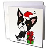 3dRose All Smiles Art Christmas - Funny Cute Boston Terrier Dog with Christmas Gifts Cartoon - 12 Greeting Cards with envelopes (gc_264014_2)
