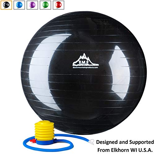 Black Mountain Products Anti Burst Exercise Stability Ball with Pump, Black, 2000-Pound/65cm ()