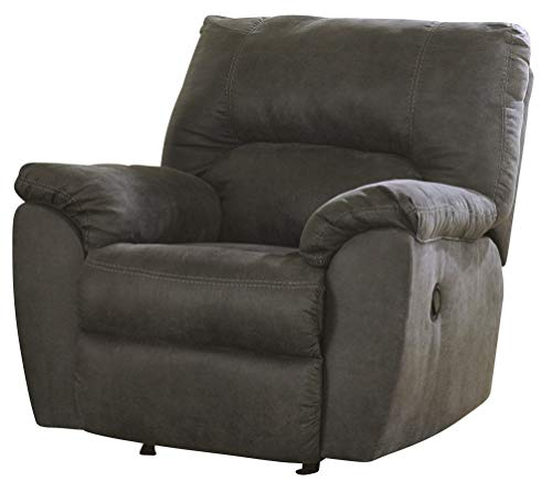 Ashley Furniture Signature Design - Tambo Rocker Recliner - Pull Tab Manual Reclining - Contemporary - Pewter