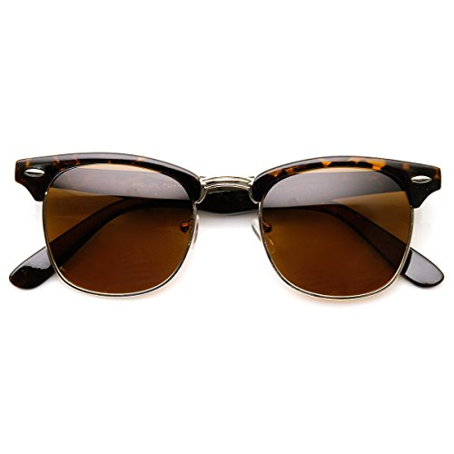 Price comparison product image zeroUV - Polarized Classic Half Frame Semi-Rimless Horn Rimmed Sunglasses (Polarized | Tortoise/Brown)