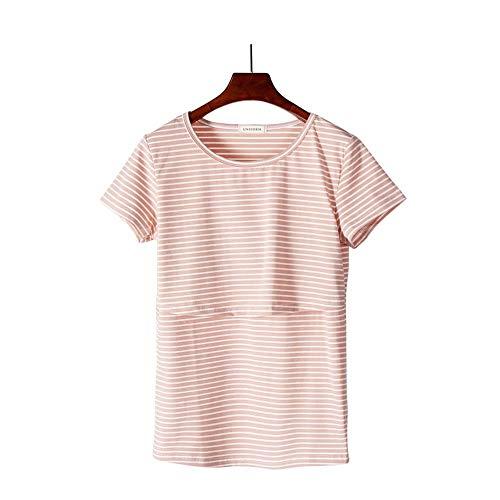 Uniform Women's Maternity Nursing Top & Short Sleeve Breastfeeding T-Shirt (Medium, Peach) ()