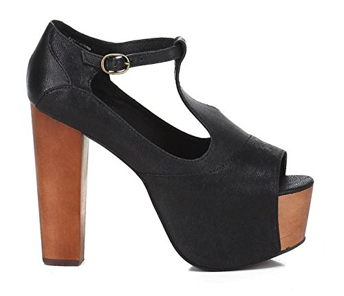 Jeffrey Campbell Foxy Wood Black – Schwarze Schuhe aus Leder Absatz Holz  Schwarz 1a4884fd19