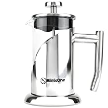 BlinkOne French Press: Single, Double and Up-to Three Serve Cup Espresso Coffee Maker (12 Oz)