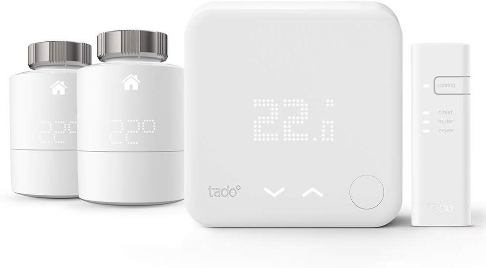 Tado 4.26033E+12 Kit de Inicio de Termostato Dos Cabezas Termostáticos Inteligentes, Blanco, Talla Única