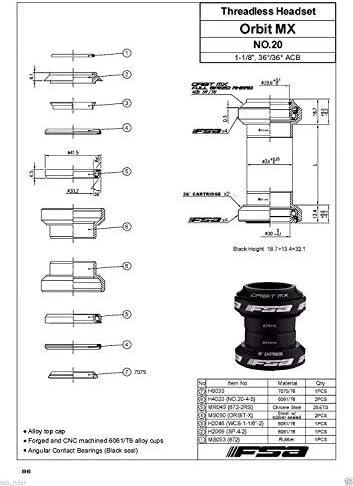 aheadset diagram fsa orbit mx 1 1 8inches threadless mtb road headset with top cap  fsa orbit mx 1 1 8inches threadless mtb