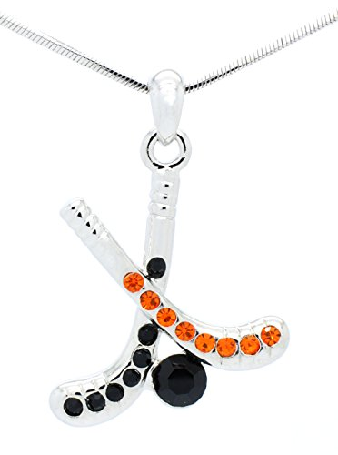 HOCKEY STICK NECKLACE - HOCKEY NECKLACE - HOCKEY STICK PENDANT NECKLACE - ORANGE/BLACK CRYSTAL