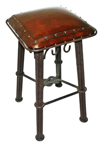 New World Trading Western Iron Barstool, Plain with Nail Heads, Antique Brown (Wrought Iron Head)