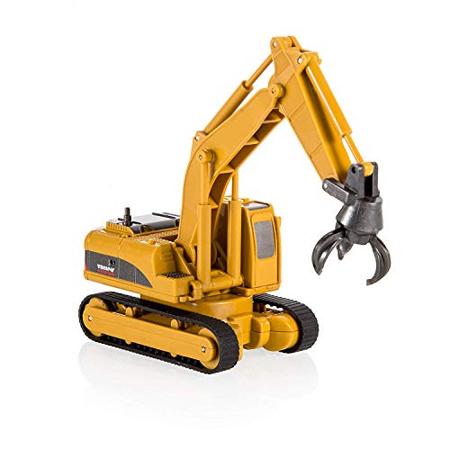 QUN FENG RC Construction Truck Toy Car Grab Loader Crawler Rechargeable Mini Remote Control Tractor Caterpillar Construction Vehicle 4 Channel Model Car for 2 Years Old boy Kids and Adults Gift