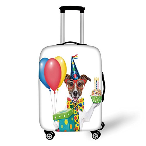 (Travel Luggage Cover Suitcase Protector,Birthday Decorations for Kids,Waiter Server Party Dog with Hat Cone Cupcake Balloons Boxes,Multicolor,for Travel )