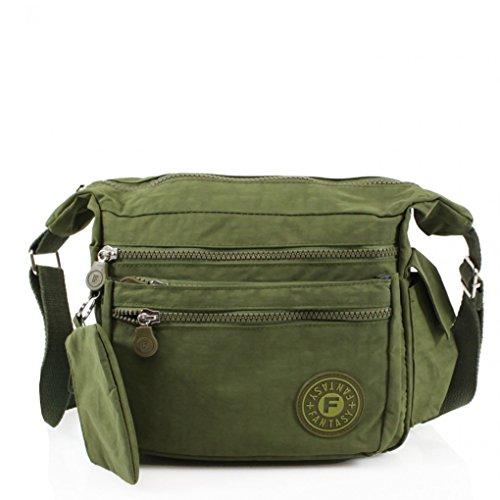 W24cm Body H20cm For Bags Brand Great LeahWard Handbags Bag GREEN Nylon Holiday x Girls Cross Women's Shoulder 507 x Handbags D13cm q177zUan