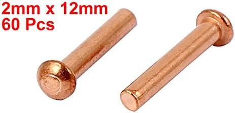 uxcell 銅ソリッドリベット 2mm x 12mm 円形ヘッド 13mmの長さ ゴールドトーン 60個入り