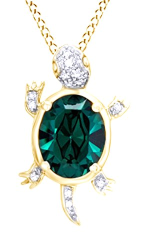 Jewel Zone US Oval Shape Simulated Green Emerald & White Natural Diamond Turtle Pendant 14K Gold Over Sterling ()