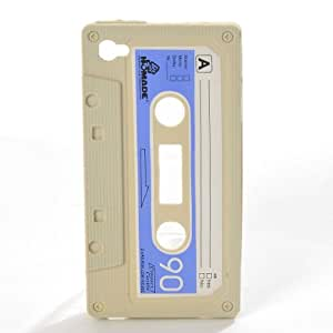 ETHAHE iPhone 4/4S Retro Cassette Tape Silicon Case Cover Skin Cream White