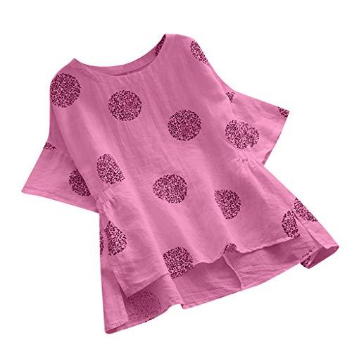 Womens O Neck Loose Tunic Plue Size Tops Polka Dot Dresses Casual Short Sleeve Chiffon Top T-Shirt Blouse & LYN Star☪ Pink