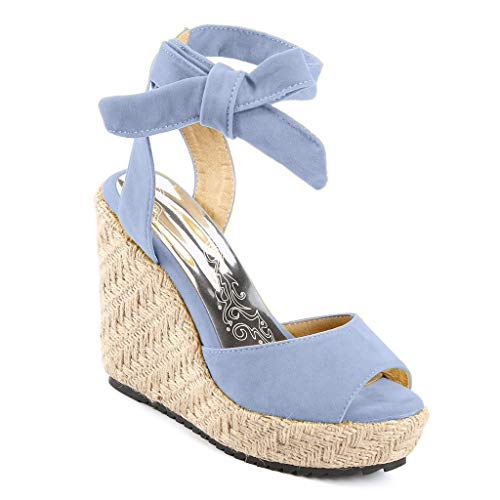 Womens Lace up Platform Wedges Sandals Classic Open Toe Ankle Strap Shoes Espadrille Sandals Blue by sweetnice Women Shoes (Image #3)