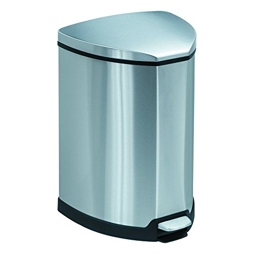 Safco Products 9685SS Stainless Step-On Trash Can, 4-Gallon, Stainless Steel