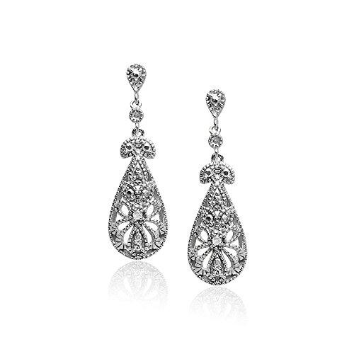 Sterling Silver Filigree Teardrop Diamond Accent Dangle Earrings, IJ-I3
