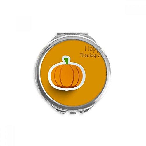 Thanksgiving Day Pattern Cartoon Pumkin Mirror Round Portable Hand Pocket -