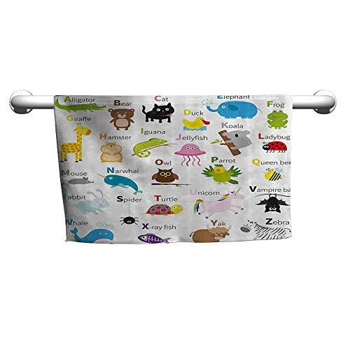 (warmfamily Animal Soft Bath Towel Cute Zoo Creatures Turtle Unicorn Octopus Ladybug Frog Cat Giraffe Duck Kids DisplayW14 x L14 Multicolor)