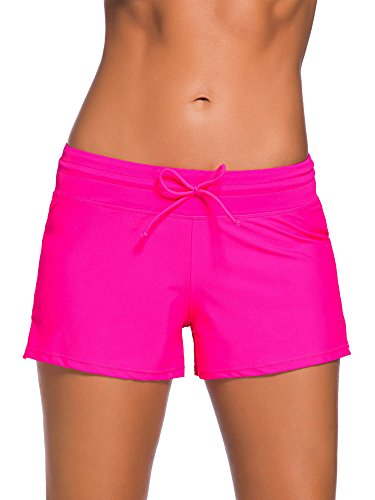 WILLBOND Women Swimsuit Shorts Tankini Swim Briefs Plus Size Bottom Boardshort Summer Swimwear Beach Trunks for Girls (XL Size, Rose Red)