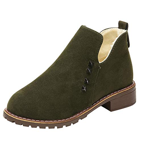(Theshy Fashion Women Rivets Flat Shoes Martain Boot Suede Slip-On Boots Round Toe Shoes Fashion Martin Boots)