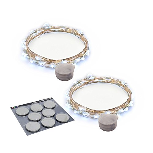 RTGS Products Cold White Colored LED Lights Indoor and Outdoor String Lights, Fairy Lights Battery Powered for Patio, Bedroom, Holiday Decor, etc (COLD WHITE COLOR 20 LEDs 7.5 FEET 2 SETs)