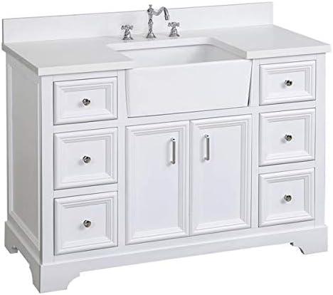 Zelda 48-inch Bathroom Vanity Quartz/White : Includes White Cabinet