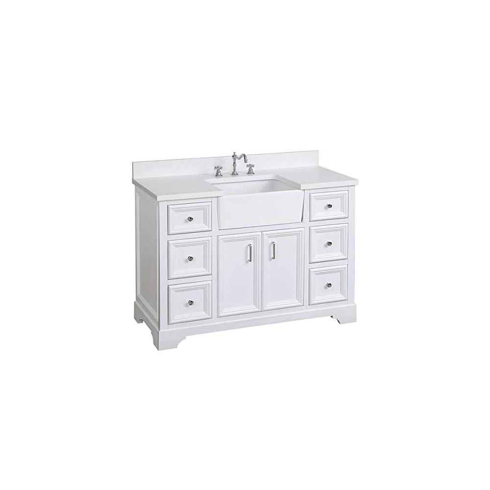Zelda 48-inch Bathroom Vanity (Quartz/White): Includes White Cabinet with Stunning Quartz Countertop and White Ceramic…