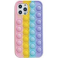Fidget leksaker telefonfodral, push pop bubbel skyddande fodral, 3D fidget regnbåge mjukt silikonfodral för iPhone 7,8…