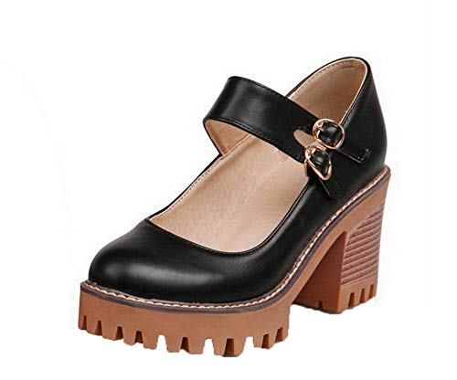 Unie Boucle Agoolar Rond Gmbdb011474 Noir Couleur Légeres Femme Chaussures xqxOCAvIw