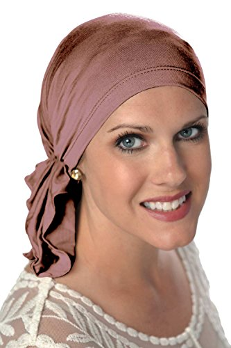 Slip-On Scarf- Caps for Women with Chemo Cancer Hair Loss Mauve (Scarves For Chemo Patients)