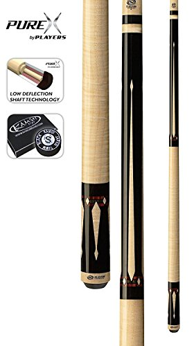 PureX HXTE5 Exotic Maple Cocobola and Bocote with Windowpane Points Technology Pool Cue, 19-Ounce