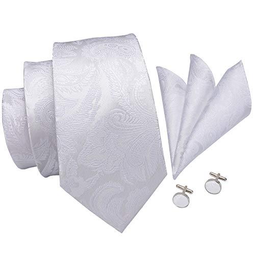 - Hi-Tie New Arrival Mens White Paisley Tie Necktie Pocket Square and Cufflinks Tie Set Gift Box (White paisley)