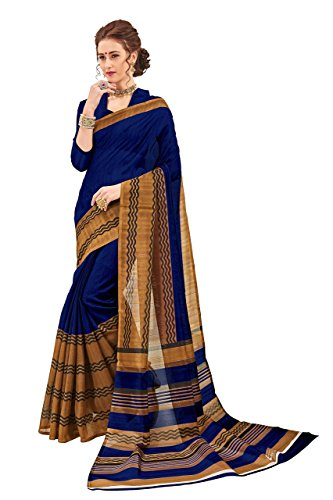 India Sarees Silk (Urban India Women's Bhagalpuri Silk Saree Free Size Blue)