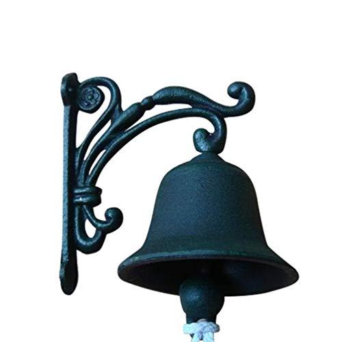BetterUS Outdoor Dinner Bells Green Iron Decorative Doorbell Bracket Mounts Bell to Both Indoor Outdoor Wall Surfaces