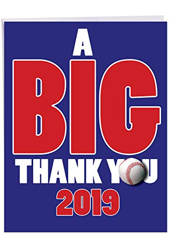 Baseball 2019 - Graduation Thank You Card with Envelope (Big 8.5 x 11 Inch) - Team Sports Card for High School, College Game - Bball Grad Congratulations Greeting Card for Men, Boys, AAU J6259GTG-19