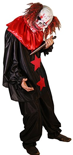 Halloween-Scary-Creepy-Horror-Evil RED DEAD CLOWN Fancy Dress Costume includes Latex Horror Mask - From Teen Size to XXXXL (Really Scary Horror Halloween Costumes)