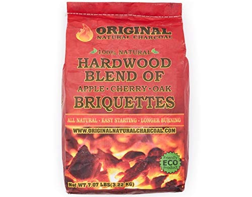 Original Natural Charcoal 7.07lb - 100% Natural Hardwood Lump Charcoals - Unique Blend of Apple, Cherry, and Oak Trees - No Smoke, No Sparks, and Low Ash - Adds Extra Flavors to Meats