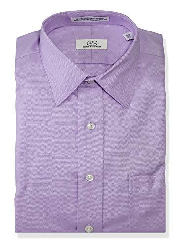 (COOPER & STEWART Men's Classic Fit Non-Iron Herringbone Spread Collar Dress Shirt | Lavender 17 1/2 X)