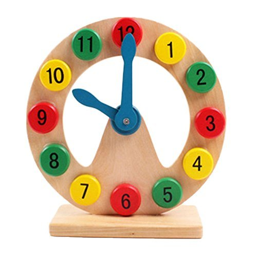 Samber Children Teaching Clock Kids Cognitive Digital Clock Wooden Geometry Clock Toy Learn to Tell Time Early Education Puzzle Toy for Toddler Children Kids by Samber