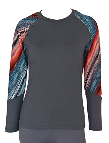 Private Island Hawaii Women UV Wetsuits Long Raglan Sleeve Rash Guard Top Grey with Waves Crest Medium ()