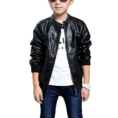 Chinaface Boy's Trendy Stand-Collar PU Leather Spring Moto Jacket Black-Medium