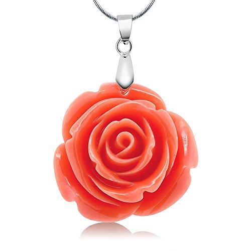 35mm Simulated Orange Coral Carved Rose Flower Pendant 16