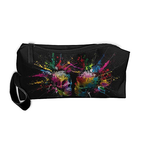 Colorful Skull I Love You Cosmetic Bags Brush Pouch Makeup Bag Zipper Wallet Hangbag Pen Organizer Carry Case Wristlet Holder -