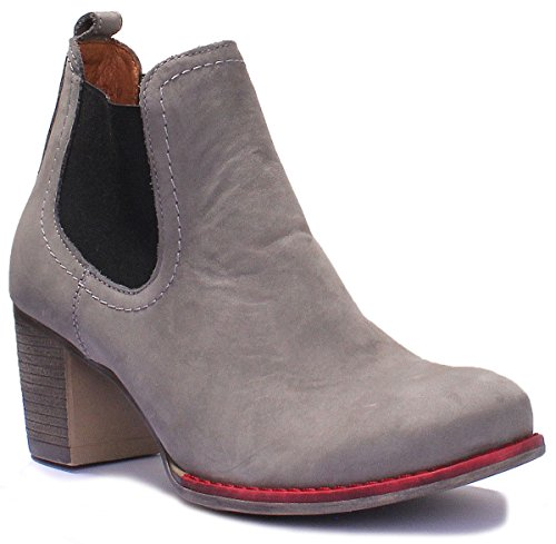 Justin Reece Womens Heel Soft All Leather Pull on Chelsea Boot Grey SYUDNv7cz