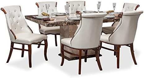 huge selection of 7a73f fc3ff Durian Siberian 6 Seater Dining Set (Cream): Amazon.in: Home ...