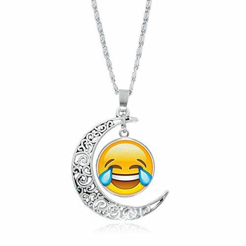 ZhiDa Laugh Tears Emoji Novelty Necklace Glass Cabochon Pendant for Kids