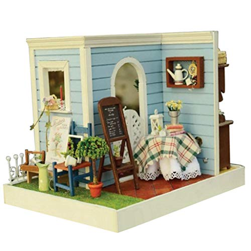 DIY Dollhouse Miniature Kit Sweet Bake House w/LED Light Furniture Kids ()