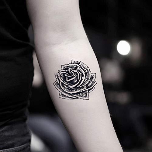 Money Rose Temporary Fake Tattoo Sticker (Set of 2) - www.ohmytat.com -