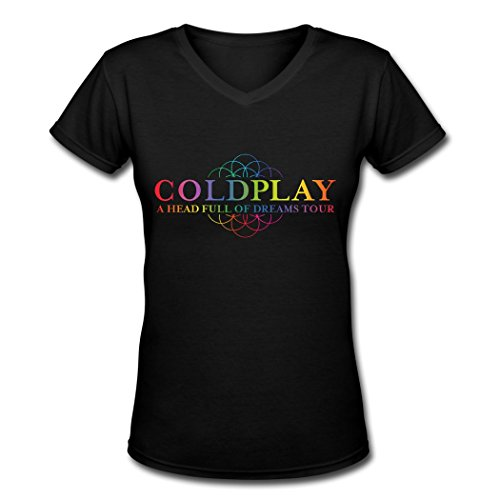 GD Women's Coldplay a Head Full of Dreams Tour V Neck T-shirt Black XXL